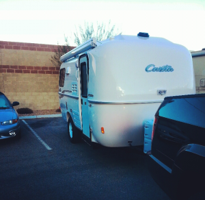 Our storage parking spot. We paid $60.00 for this spot since our HOA won't allow RVs in the driveway. Tight squeeze!