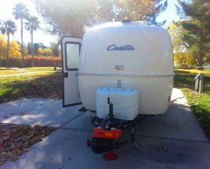 Our Casita Trailer and Hensley Hitch at an RV Park.