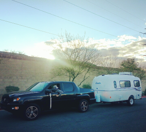 Our Casita and our Honda Ridgeline at the storage facility.