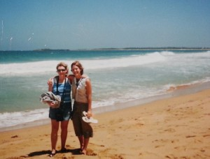 Tara, left, and Kristin, right, in Australia, 1999.