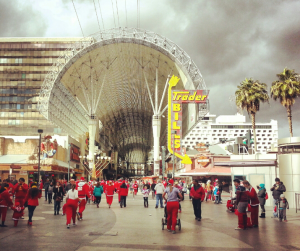 The Santa Run in 2013, with the Fremont Street Experience in the background.