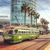 Vintage trolley downtown
