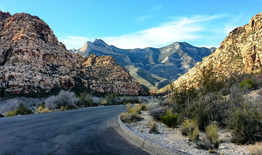 Driving through Red Rock Canyon -
