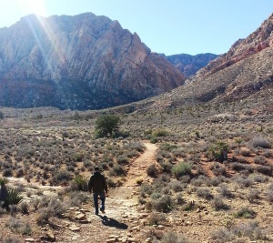 Hiking the beautiful trail at Spring Mountain Ranch State Park.