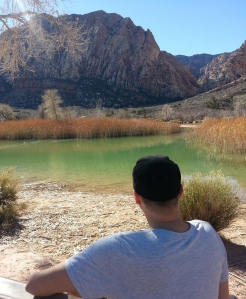 Mike, sitting on the bench and taking in the beautiful scenery after enjoying a hike at Spring Mountain Ranch State Park, Nevada.