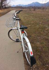 The Boulder Creek Path and a rented bikes from University Bikes.