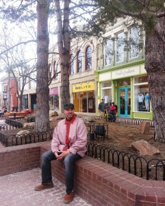 Mike, taking a break at the Pearl Street Mall.