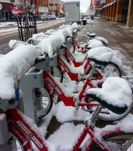 There are bike rentals available all over town. These are bikes for rent from B-Cycle Bikes, a non-profit.