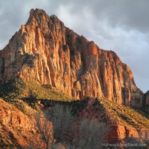 Sun falling on the mountain at Zion -