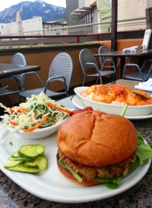 One of the tastiest Veggie burgers can be found at the West End Tavern in Boulder. Everything here is excellent.