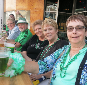 Hanging out at the Brass Lounge on Saint Patrick's Day.