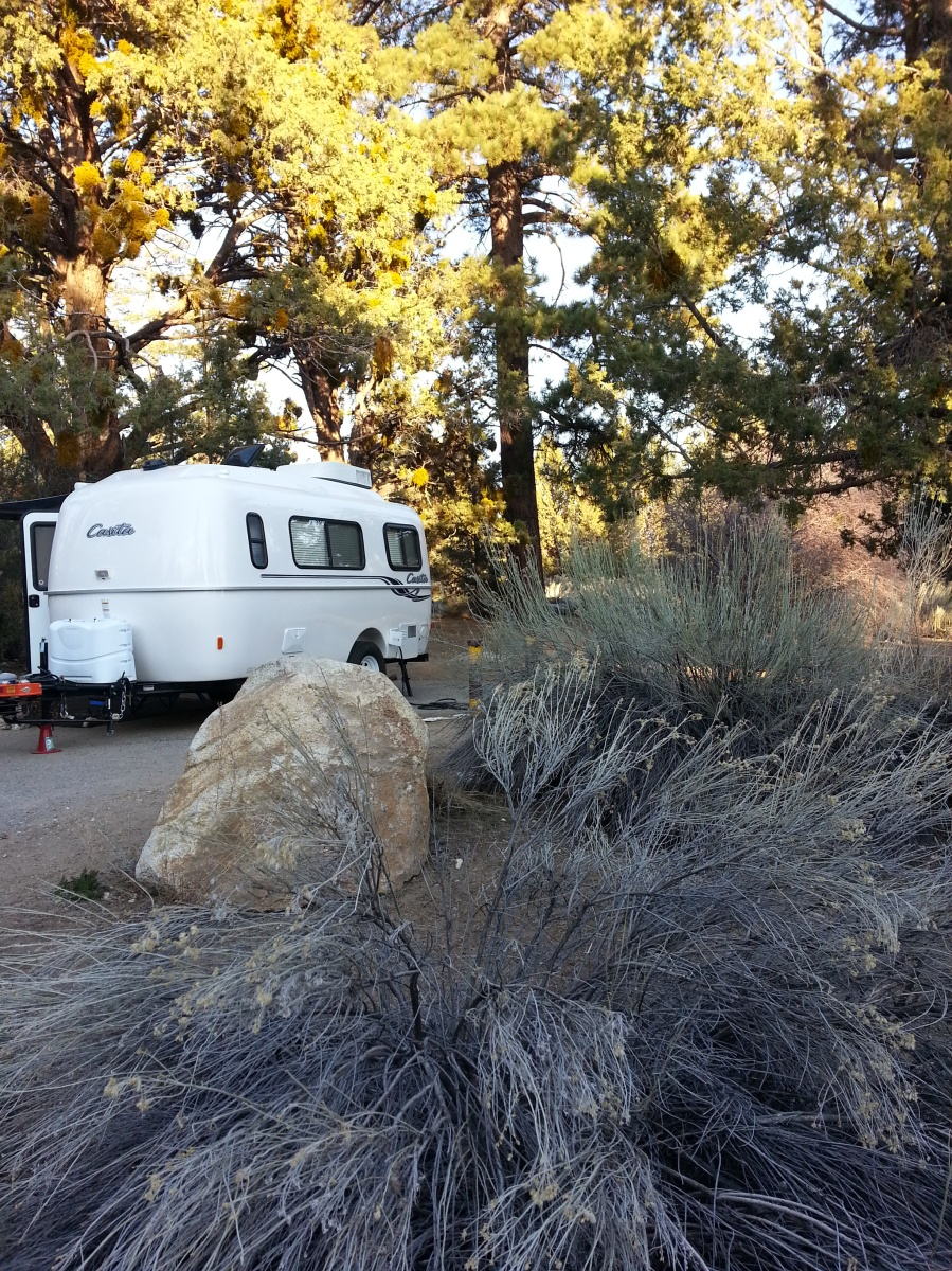 Travel Trailer Camping at Serrano Campground, Big Bear Lake, California