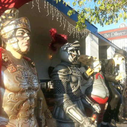 Statues on display in front of an antique store in Boulder City.