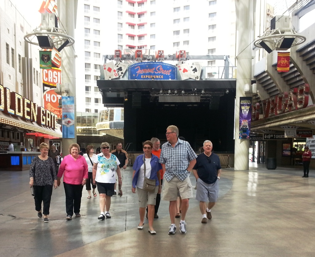 The Group walks together, downtown Las Vegas.
