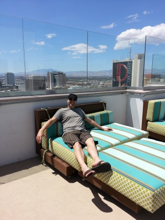 Mike, enjoying the rooftop deck and pool area.