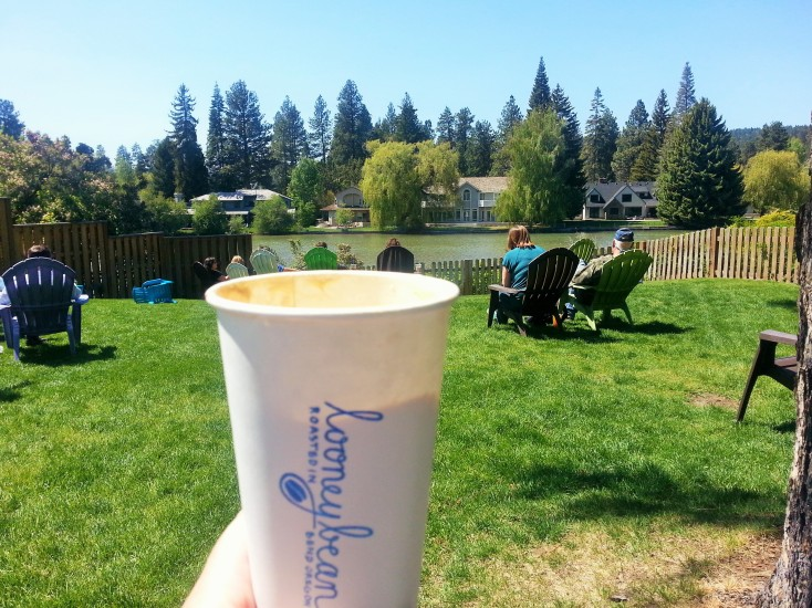 Drinking coffee in the backyard area of the Looney Coffee Bean shop.