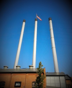 The Old Historic Mill Stacks in Bend OR - Now part of an outdoor shopping mall.