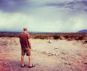 Mike, in Henderson during rare storm.