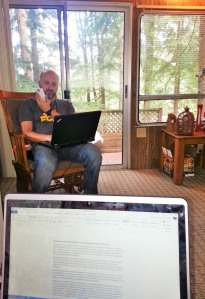 Mike doing his work and me working on my blog and writing from the trailer.